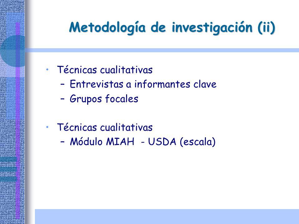 Técnicas cualitativas –Entrevistas a informantes clave –Grupos focales Técnicas cualitativas –Módulo MIAH - USDA (escala) Metodología de investigación