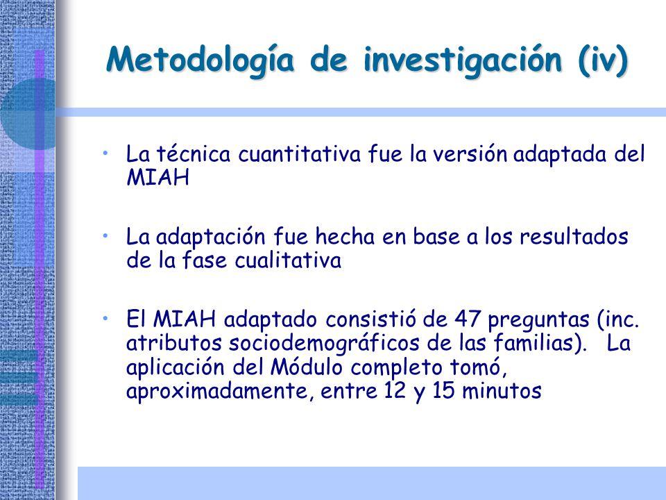 Metodología de investigación (iv) La técnica cuantitativa fue la versión adaptada del MIAH La adaptación fue hecha en base a los resultados de la fase