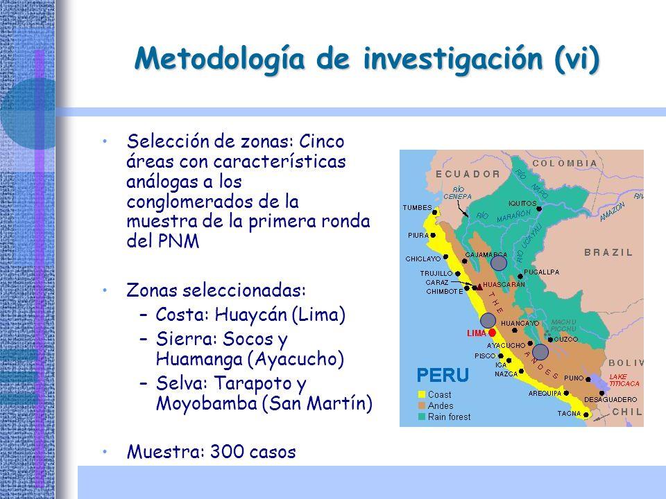 Metodología de investigación (vi) Selección de zonas: Cinco áreas con características análogas a los conglomerados de la muestra de la primera ronda d