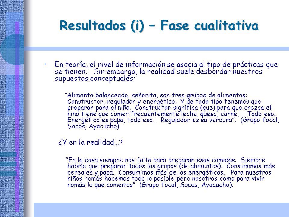 Resultados (i) – Fase cualitativa En teoría, el nivel de información se asocia al tipo de prácticas que se tienen. Sin embargo, la realidad suele desb