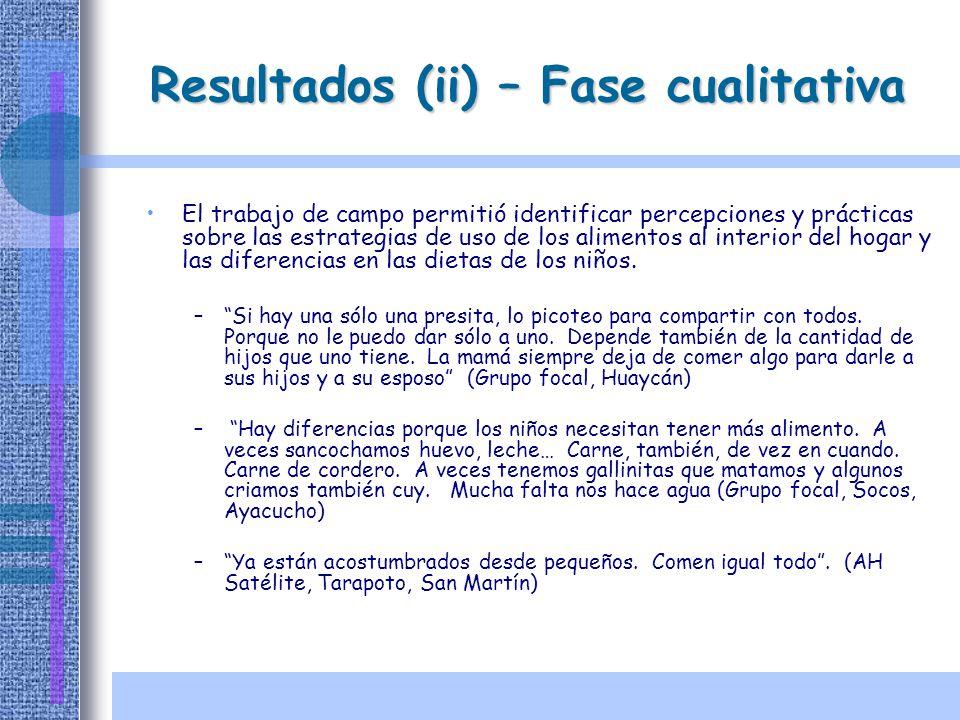 Resultados (ii) – Fase cualitativa El trabajo de campo permitió identificar percepciones y prácticas sobre las estrategias de uso de los alimentos al