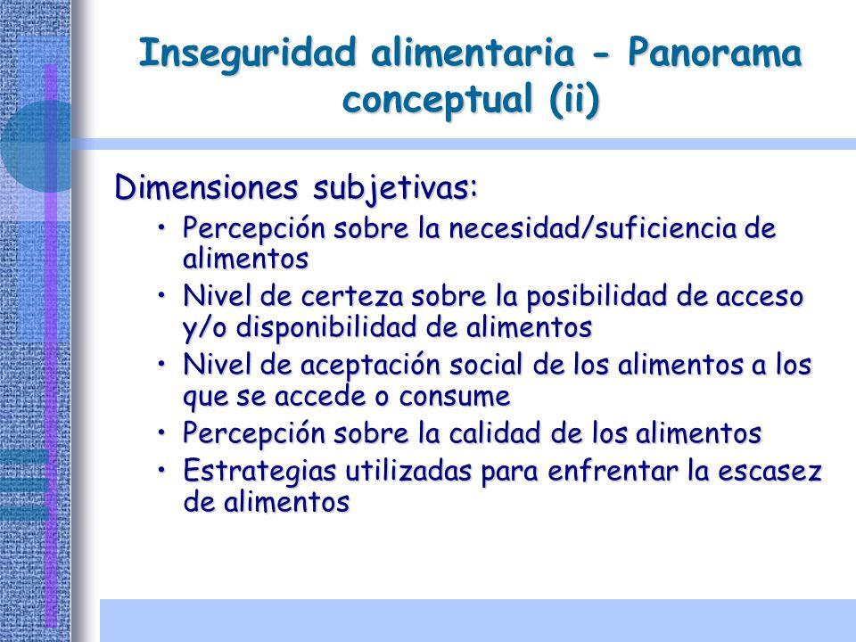 Inseguridad alimentaria - Panorama conceptual (ii) Dimensiones subjetivas: Percepción sobre la necesidad/suficiencia de alimentosPercepción sobre la n