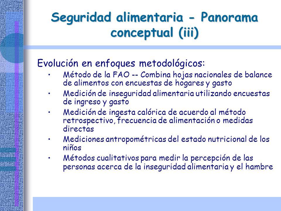 Seguridad alimentaria - Panorama conceptual (iii) Evolución en enfoques metodológicos: Método de la FAO -- Combina hojas nacionales de balance de alim