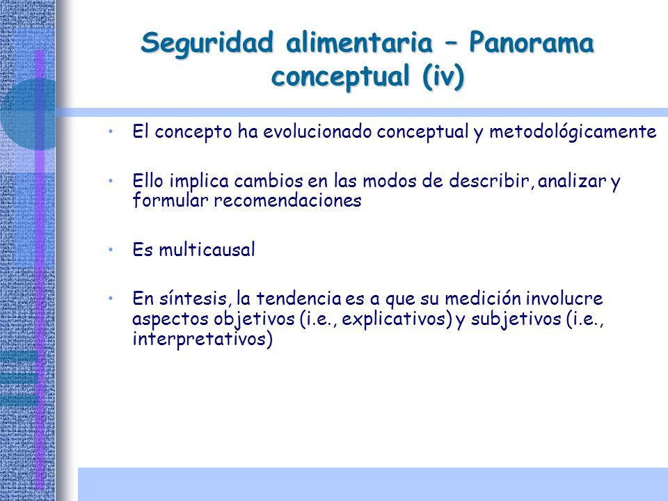 Seguridad alimentaria – Panorama conceptual (iv) El concepto ha evolucionado conceptual y metodológicamente Ello implica cambios en las modos de descr