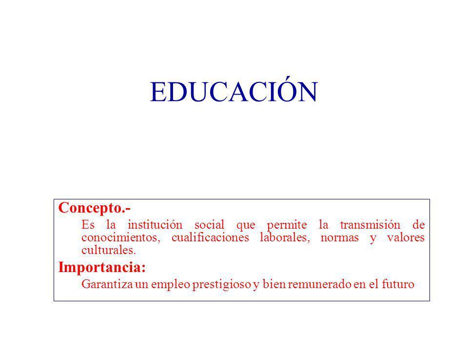 EDUCACIÓN Concepto.- Es la institución social que permite la transmisión de conocimientos, cualificaciones laborales, normas y valores culturales. Imp