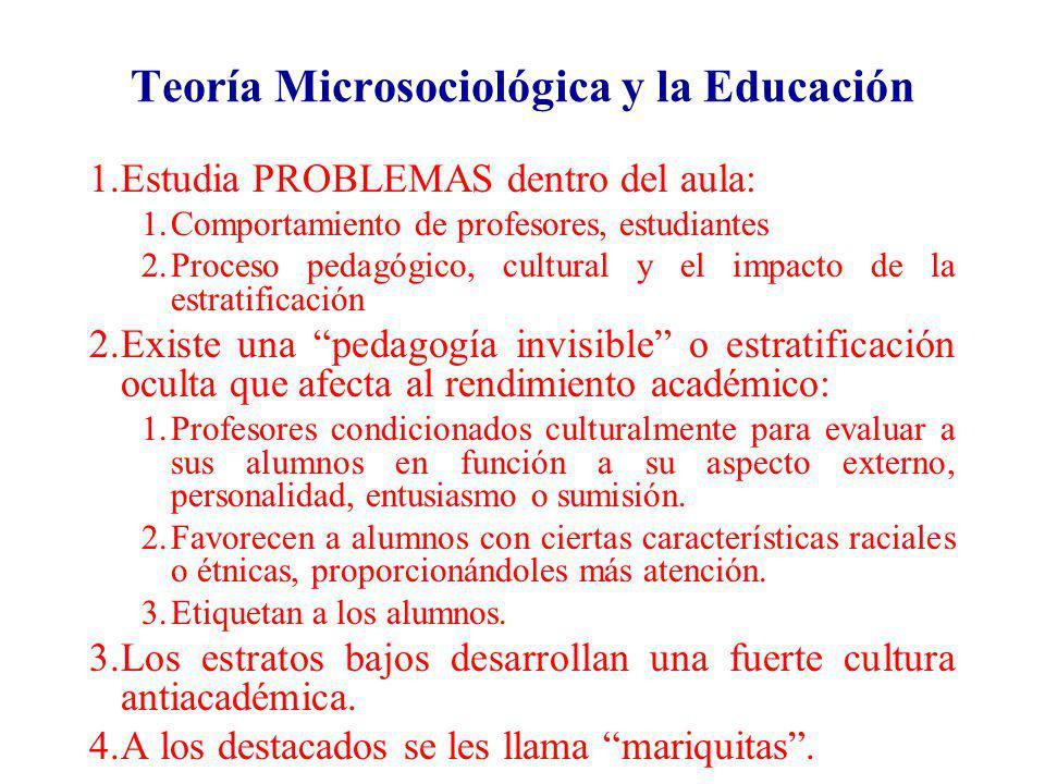 Teoría Microsociológica y la Educación 1.Estudia PROBLEMAS dentro del aula: 1.Comportamiento de profesores, estudiantes 2.Proceso pedagógico, cultural
