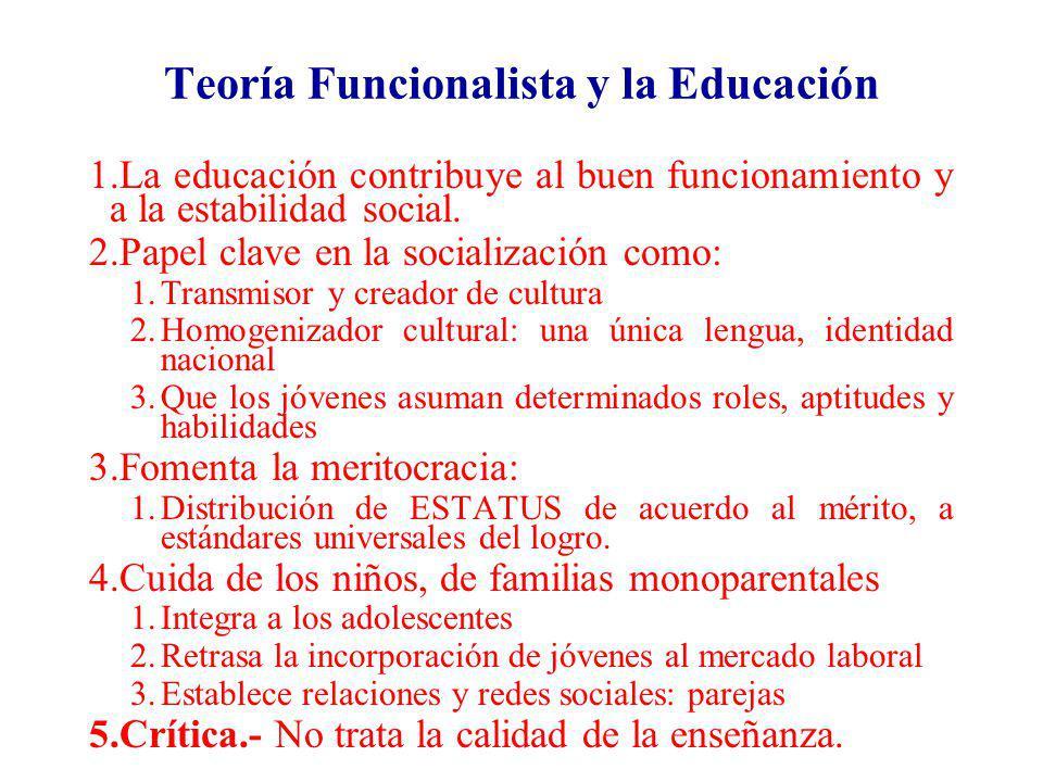 Teoría Funcionalista y la Educación 1.La educación contribuye al buen funcionamiento y a la estabilidad social. 2.Papel clave en la socialización como