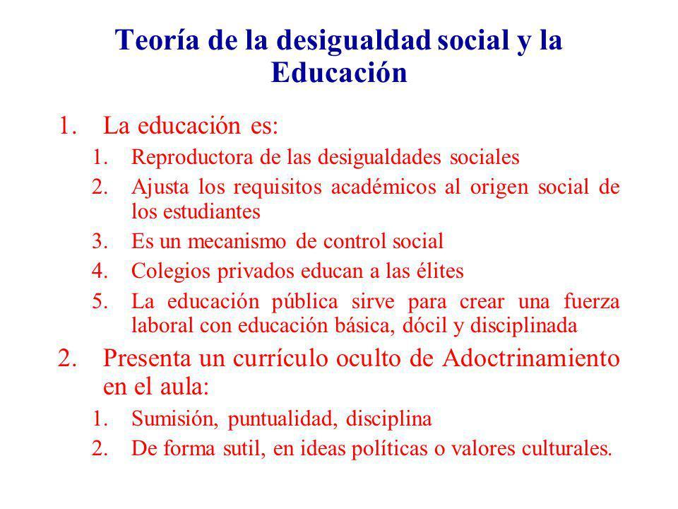 Teoría de la desigualdad social y la Educación 1.La educación es: 1.Reproductora de las desigualdades sociales 2.Ajusta los requisitos académicos al o