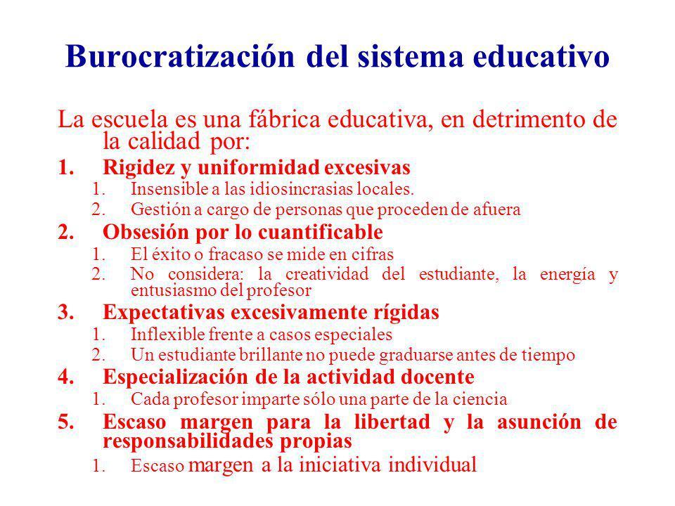 Burocratización del sistema educativo La escuela es una fábrica educativa, en detrimento de la calidad por: 1.Rigidez y uniformidad excesivas 1.Insens