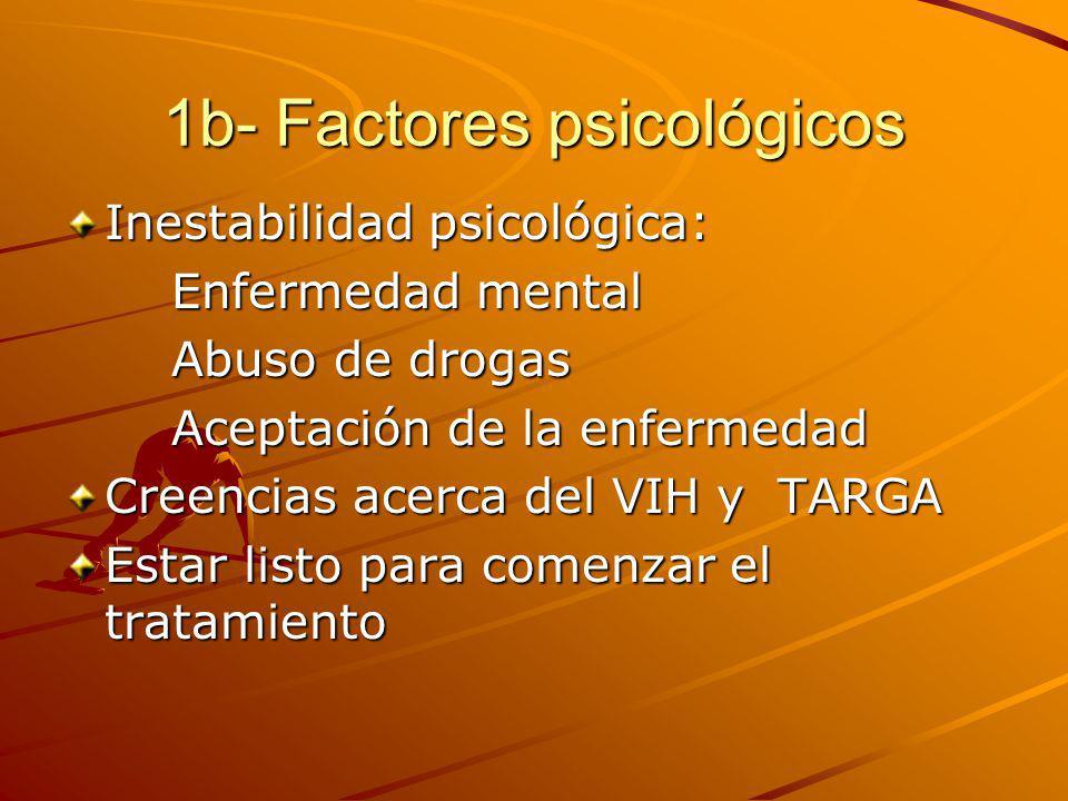 1b- Factores psicológicos Inestabilidad psicológica: Enfermedad mental Abuso de drogas Aceptación de la enfermedad Creencias acerca del VIH y TARGA Estar listo para comenzar el tratamiento
