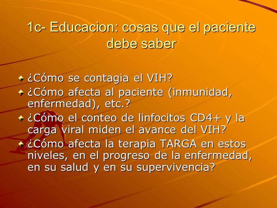 1c- Educacion: cosas que el paciente debe saber ¿Cómo se contagia el VIH? ¿Cómo afecta al paciente (inmunidad, enfermedad), etc.? ¿Cómo el conteo de l