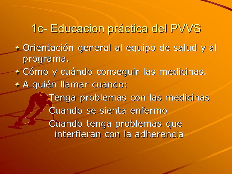 1c- Educacion práctica del PVVS Orientación general al equipo de salud y al programa. Cómo y cuándo conseguir las medicinas. A quién llamar cuando: Te