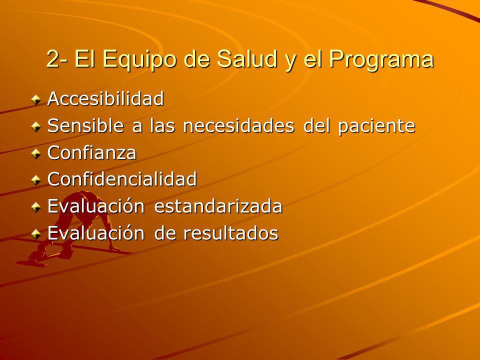 2- El Equipo de Salud y el Programa Accesibilidad Sensible a las necesidades del paciente ConfianzaConfidencialidad Evaluación estandarizada Evaluación de resultados