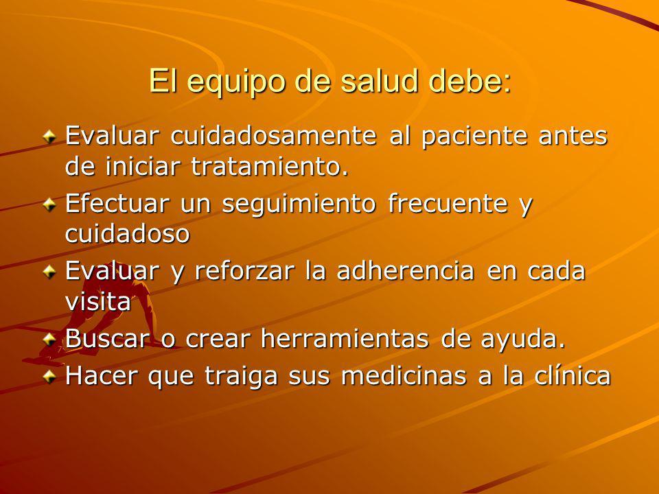 El equipo de salud debe: Evaluar cuidadosamente al paciente antes de iniciar tratamiento. Efectuar un seguimiento frecuente y cuidadoso Evaluar y refo