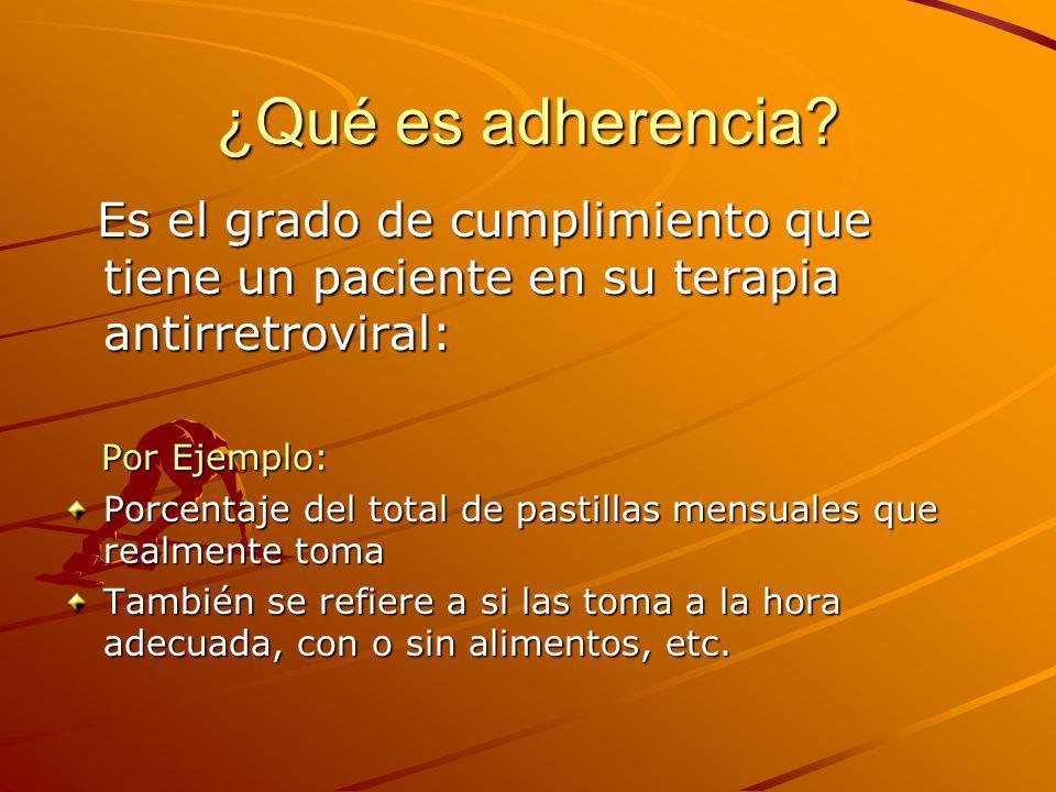 ¿Qué es adherencia? Es el grado de cumplimiento que tiene un paciente en su terapia antirretroviral: Es el grado de cumplimiento que tiene un paciente