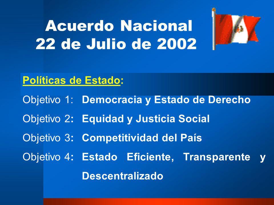 Acuerdo Nacional 22 de Julio de 2002 Políticas de Estado: Objetivo 1:Democracia y Estado de Derecho Objetivo 2:Equidad y Justicia Social Objetivo 3:Competitividad del País Objetivo 4:Estado Eficiente, Transparente y Descentralizado