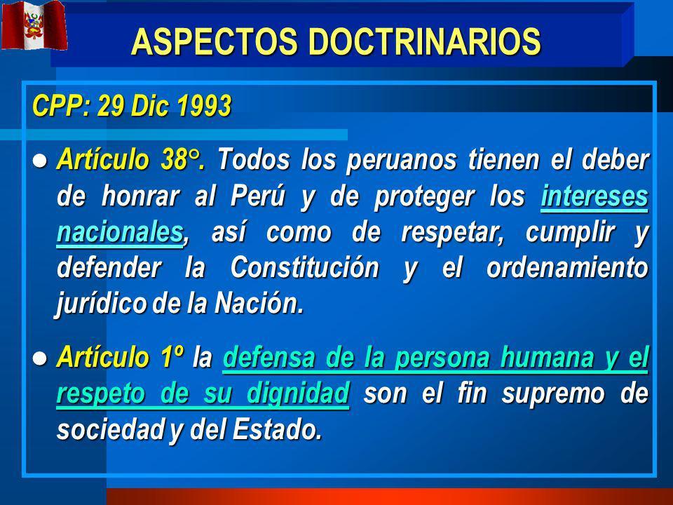 ASPECTOS DOCTRINARIOS CPP: 29 Dic 1993 Artículo 38°.