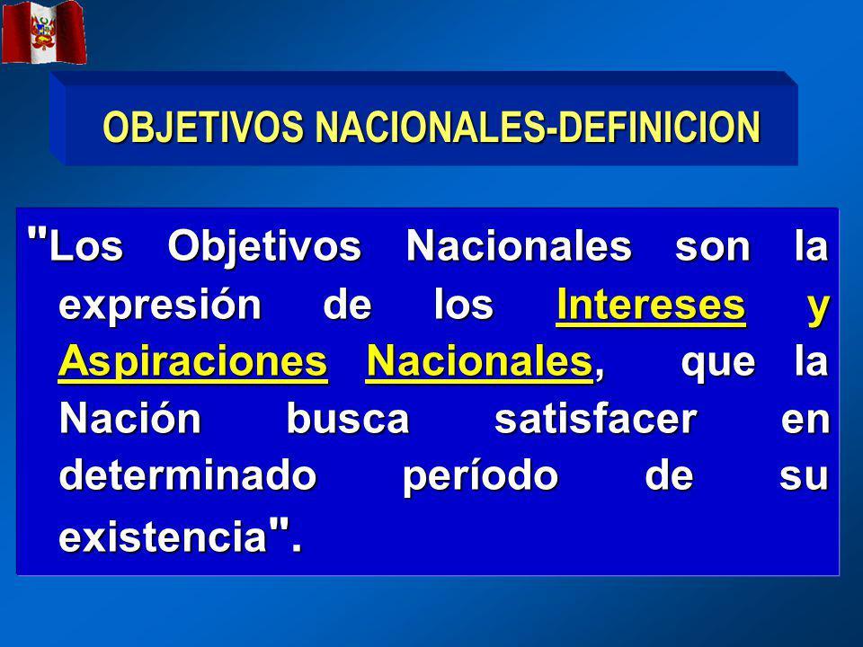 OBJETIVOS NACIONALES-DEFINICION Los Objetivos Nacionales son la expresión de los Intereses y Aspiraciones Nacionales, que la Nación busca satisfacer en determinado período de su existencia .