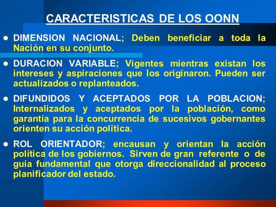 CARACTERISTICAS DE LOS OONN DIMENSION NACIONAL; Deben beneficiar a toda la Nación en su conjunto.