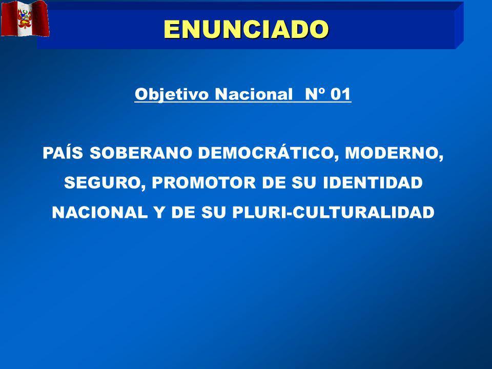 ENUNCIADO Objetivo Nacional Nº 01 PAÍS SOBERANO DEMOCRÁTICO, MODERNO, SEGURO, PROMOTOR DE SU IDENTIDAD NACIONAL Y DE SU PLURI-CULTURALIDAD