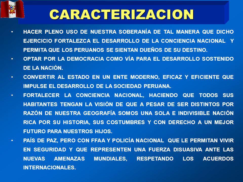 CARACTERIZACION HACER PLENO USO DE NUESTRA SOBERANÍA DE TAL MANERA QUE DICHO EJERCICIO FORTALEZCA EL DESARROLLO DE LA CONCIENCIA NACIONAL Y PERMITA QUE LOS PERUANOS SE SIENTAN DUEÑOS DE SU DESTINO.