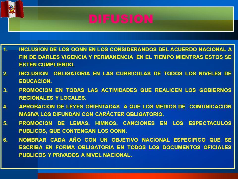 1.INCLUSION DE LOS OONN EN LOS CONSIDERANDOS DEL ACUERDO NACIONAL A FIN DE DARLES VIGENCIA Y PERMANENCIA EN EL TIEMPO MIENTRAS ESTOS SE ESTEN CUMPLIENDO.