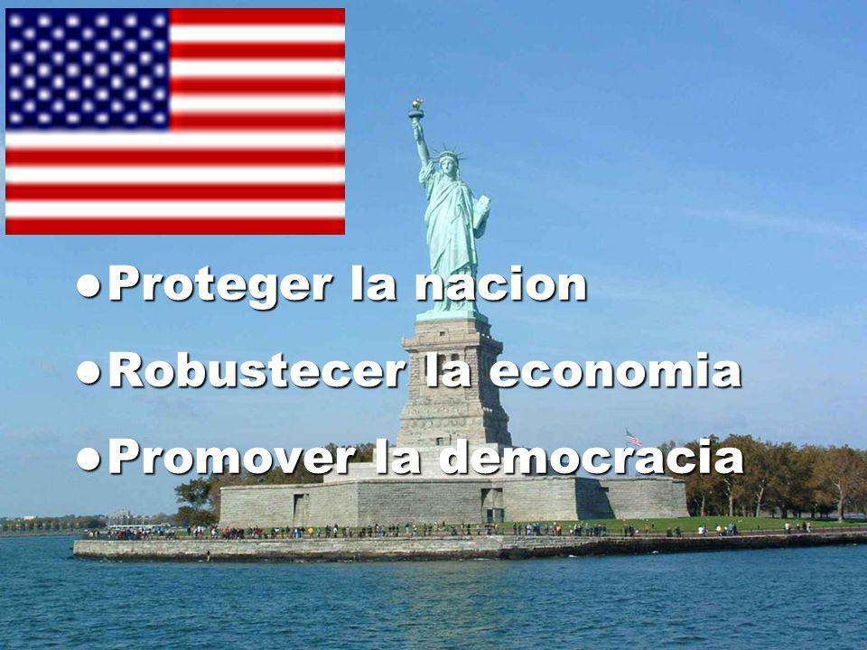 Proteger la nacion Proteger la nacion Robustecer la economia Robustecer la economia Promover la democracia Promover la democracia