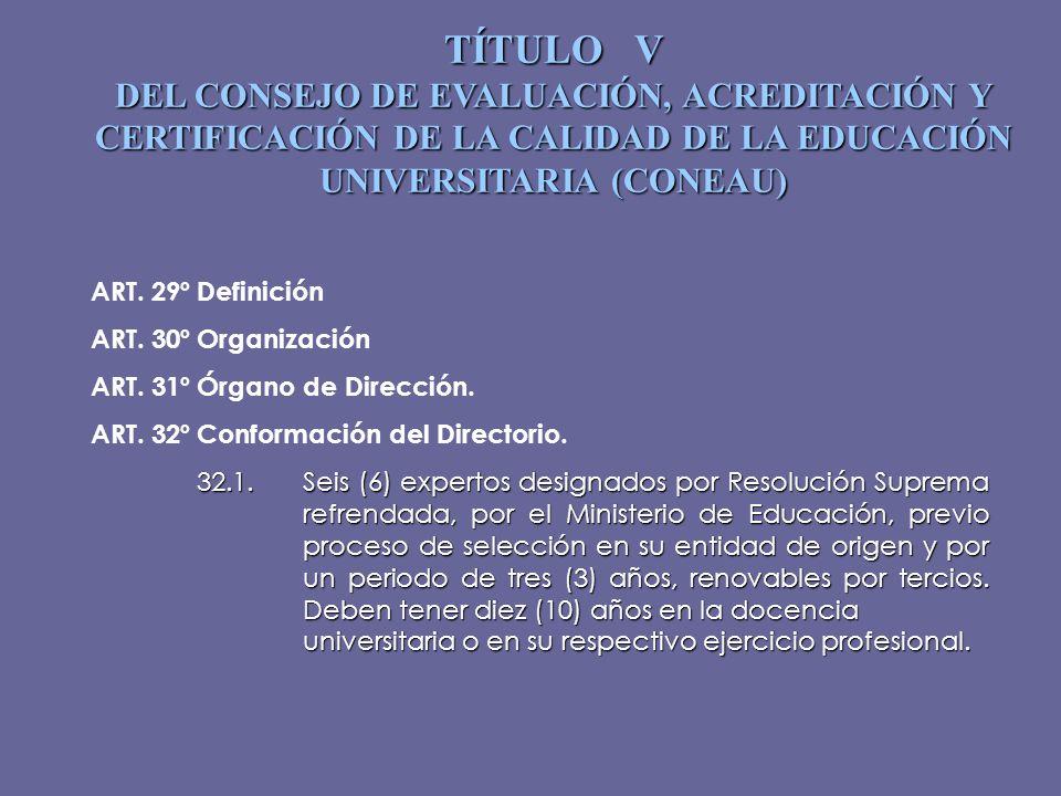 TÍTULO V DEL CONSEJO DE EVALUACIÓN, ACREDITACIÓN Y CERTIFICACIÓN DE LA CALIDAD DE LA EDUCACIÓN UNIVERSITARIA (CONEAU) ART. 29ºDefinición ART. 30ºOrgan