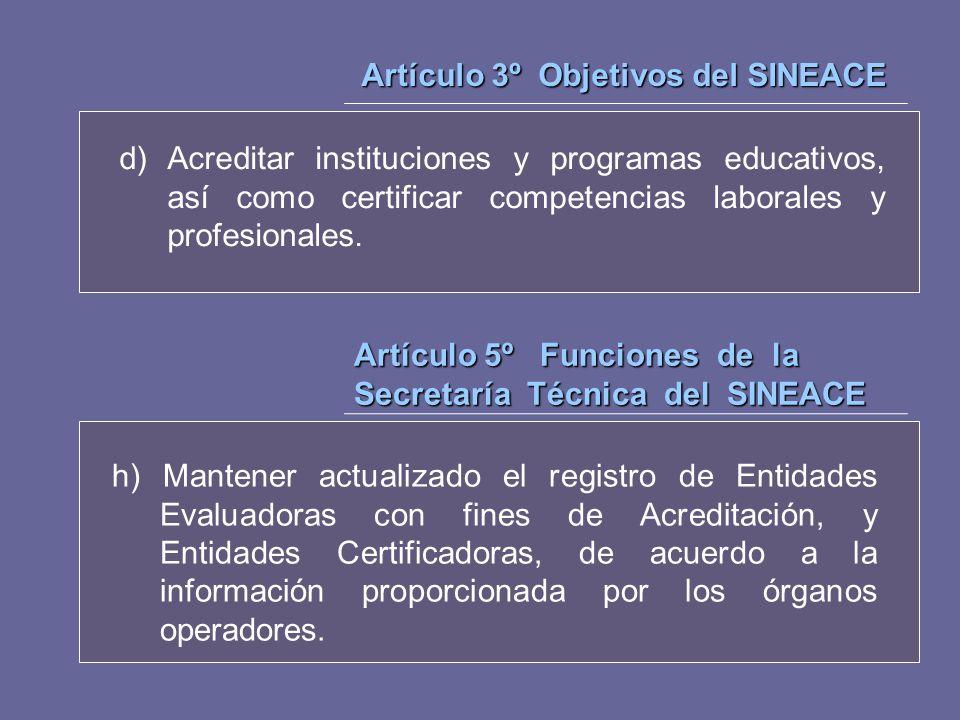 Artículo 3º Objetivos del SINEACE d)Acreditar instituciones y programas educativos, así como certificar competencias laborales y profesionales. Artícu