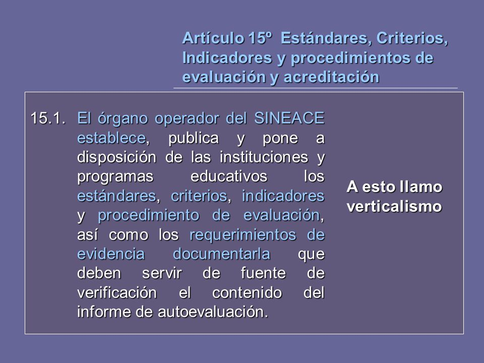 Artículo 15º Estándares, Criterios, Indicadores y procedimientos de evaluación y acreditación 15.1. El órgano operador del SINEACE establece, publica