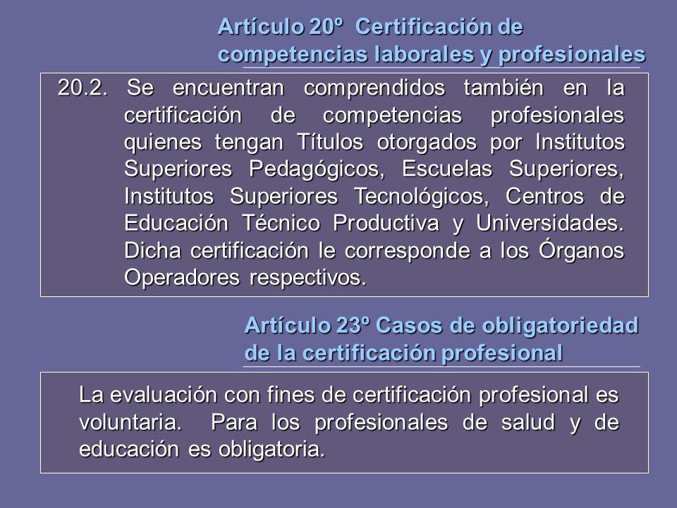 Artículo 20º Certificación de competencias laborales y profesionales 20.2. Se encuentran comprendidos también en la certificación de competencias prof