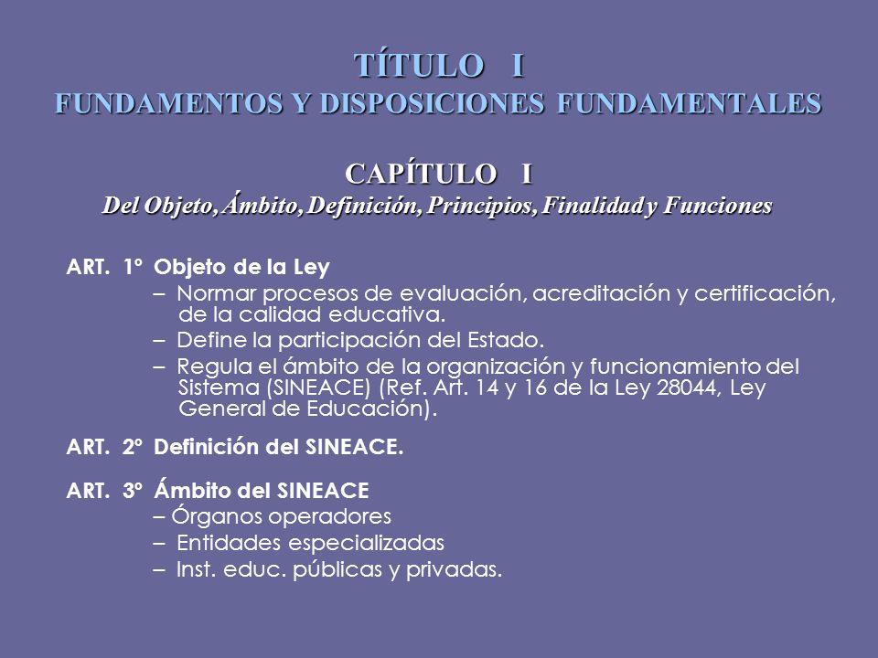 TÍTULO I FUNDAMENTOS Y DISPOSICIONES FUNDAMENTALES CAPÍTULO I Del Objeto, Ámbito, Definición, Principios, Finalidad y Funciones ART. 1ºObjeto de la Le