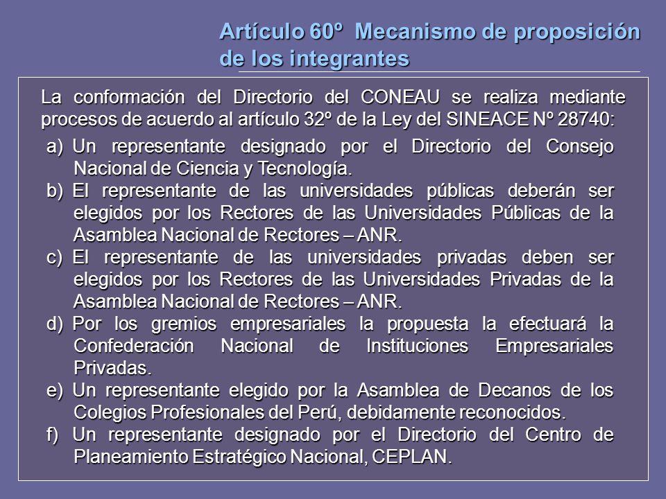 Artículo 60º Mecanismo de proposición de los integrantes La conformación del Directorio del CONEAU se realiza mediante procesos de acuerdo al artículo