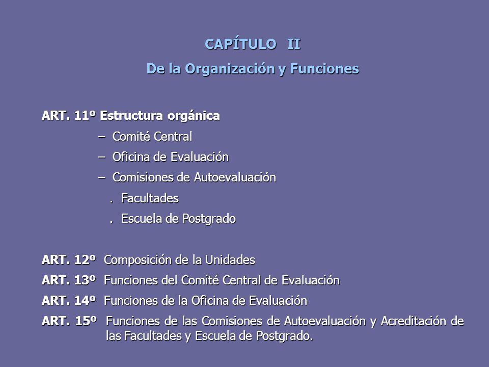 CAPÍTULO II De la Organización y Funciones ART. 11º Estructura orgánica – Comité Central – Comité Central – Oficina de Evaluación – Oficina de Evaluac