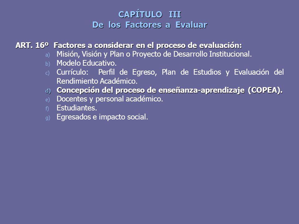 CAPÍTULO III De los Factores a Evaluar ART. 16º Factores a considerar en el proceso de evaluación: a) Misión, Visión y Plan o Proyecto de Desarrollo I