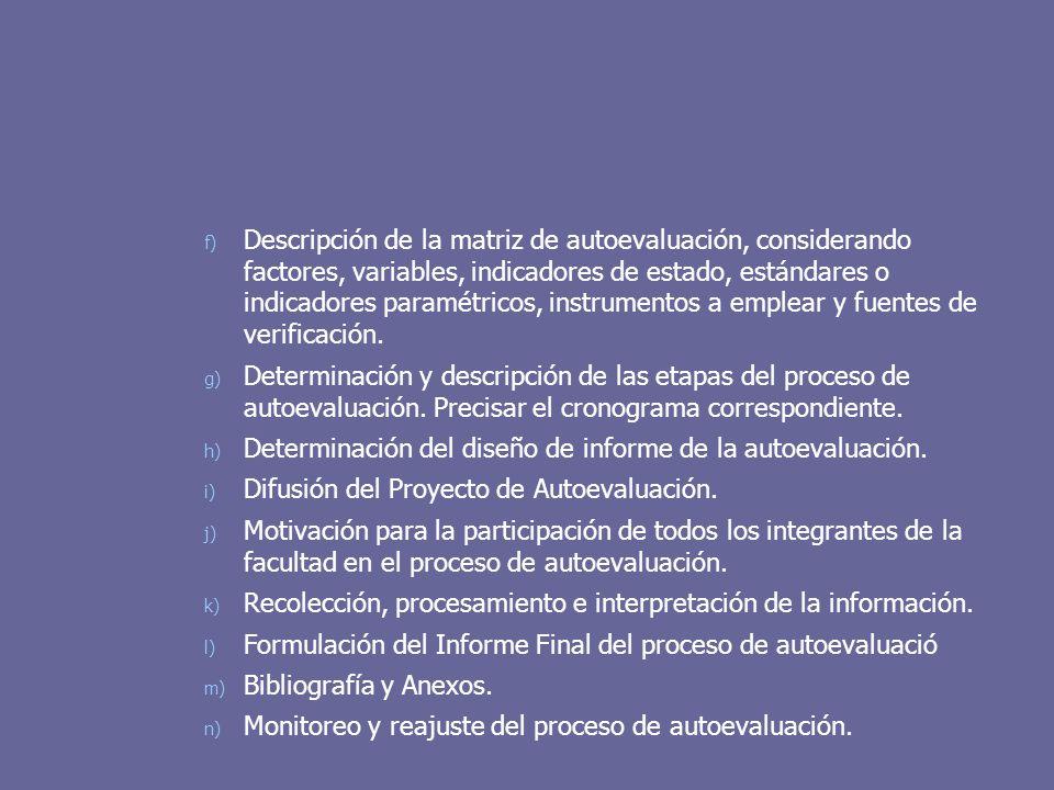 f) Descripción de la matriz de autoevaluación, considerando factores, variables, indicadores de estado, estándares o indicadores paramétricos, instrum