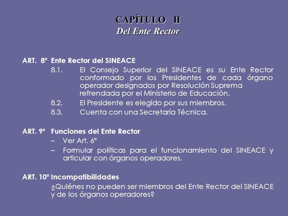 CAPÍTULO II Del Ente Rector ART. 8ºEnte Rector del SINEACE 8.1.El Consejo Superior del SINEACE es su Ente Rector conformado por los Presidentes de cad