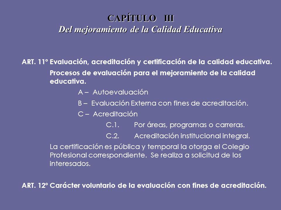 CAPÍTULO III Del mejoramiento de la Calidad Educativa ART. 11ºEvaluación, acreditación y certificación de la calidad educativa. Procesos de evaluación