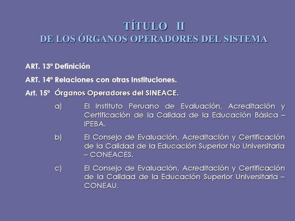 TÍTULO II DE LOS ÓRGANOS OPERADORES DEL SISTEMA ART. 13ºDefinición ART. 14ºRelaciones con otras Instituciones. Órganos Operadores del SINEACE. Art. 15
