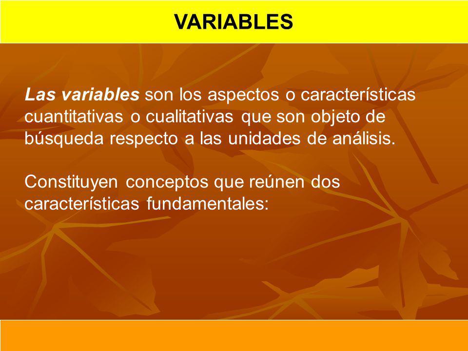 VARIABLES Las variables son los aspectos o características cuantitativas o cualitativas que son objeto de búsqueda respecto a las unidades de análisis