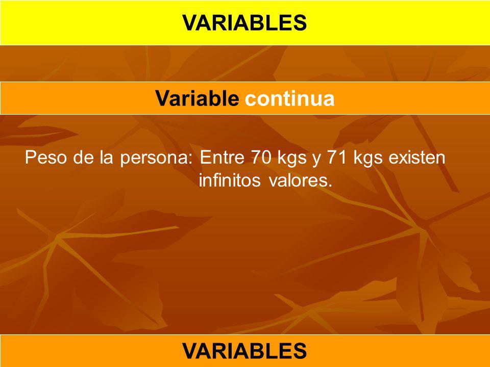Variable continua VARIABLES Peso de la persona: Entre 70 kgs y 71 kgs existen infinitos valores.