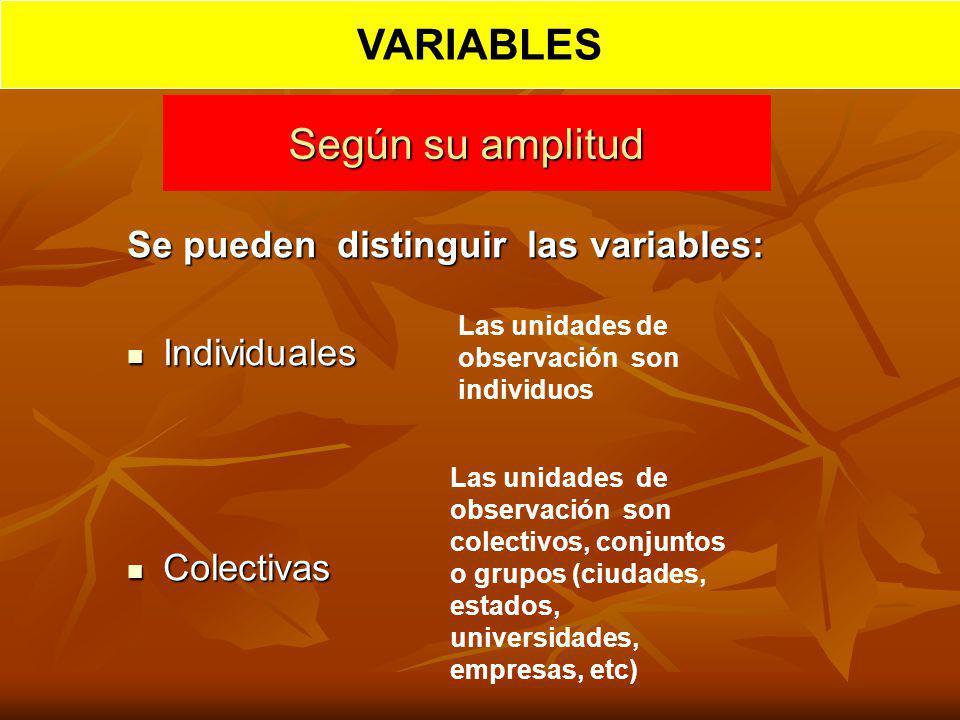 Según su amplitud Se pueden distinguir las variables: Individuales Individuales Colectivas Colectivas Las unidades de observación son individuos Las u