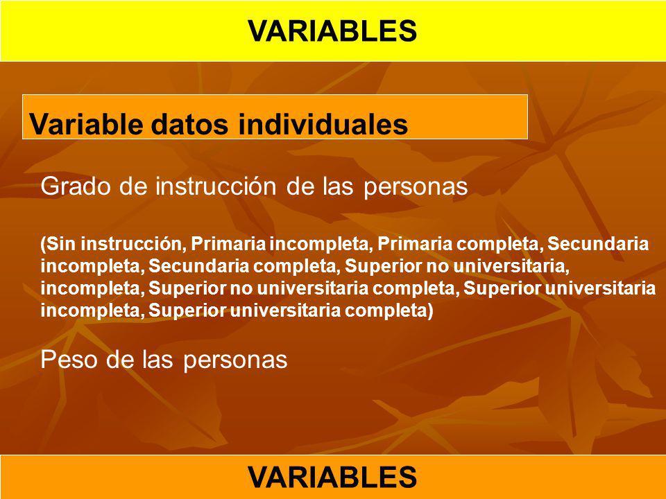 VARIABLES Variable datos individuales Grado de instrucción de las personas (Sin instrucción, Primaria incompleta, Primaria completa, Secundaria incomp