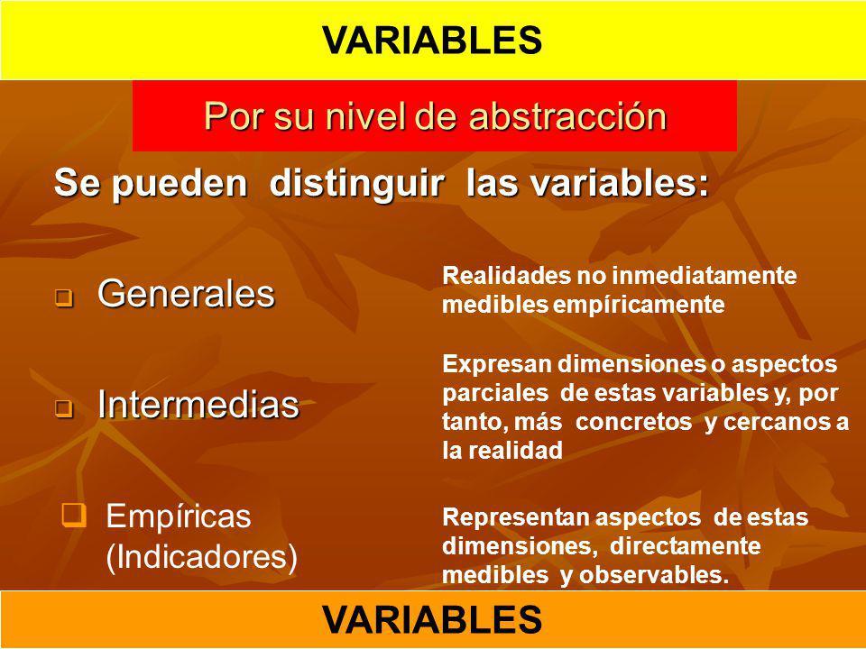 Por su nivel de abstracción Se pueden distinguir las variables: Generales Generales Intermedias Intermedias Realidades no inmediatamente medibles empí