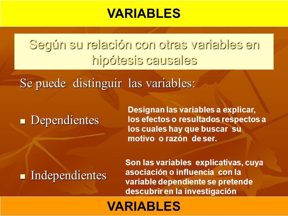 Según su relación con otras variables en hipótesis causales Se puede distinguir las variables: Dependientes Dependientes Independientes Independientes