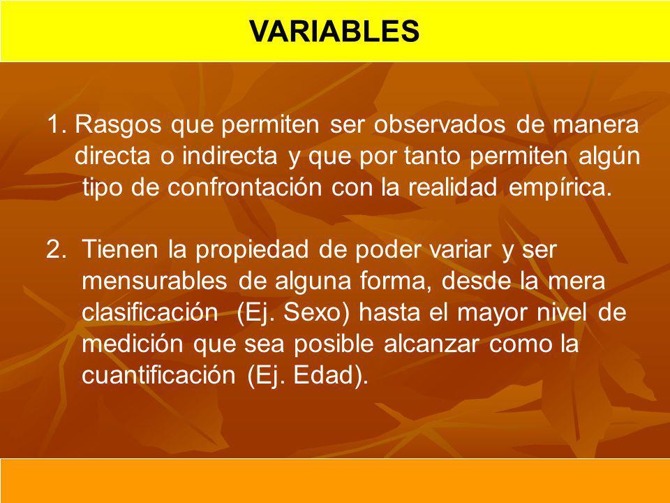 HIPOTESIS CIENTIFICA VARIABLES NOTA: La definición operacional para una misma variable puede ser distinta para diferentes investigaciones, en dependencia de sus objetivos.