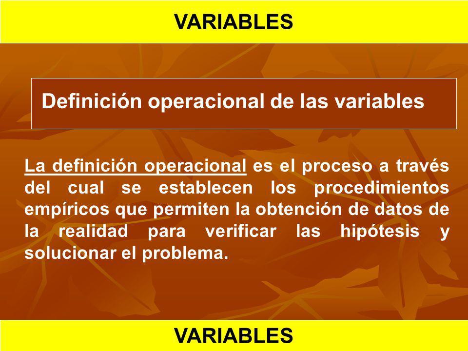 HIPOTESIS CIENTIFICA VARIABLES Definición operacional de las variables La definición operacional es el proceso a través del cual se establecen los pro
