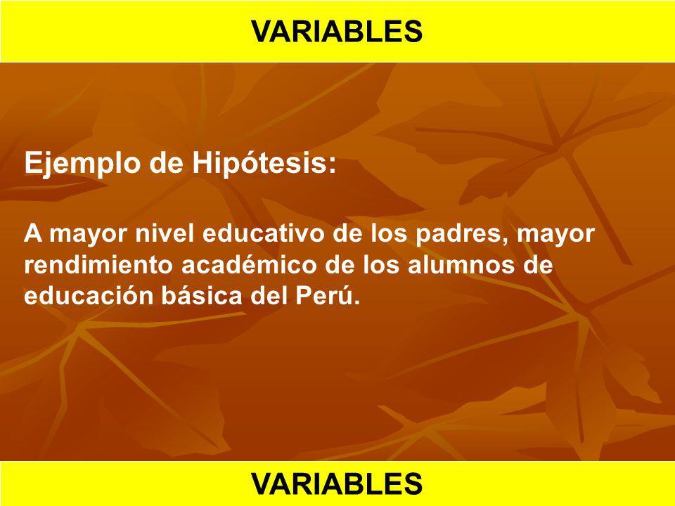 HIPOTESIS CIENTIFICA VARIABLES Ejemplo de Hipótesis: A mayor nivel educativo de los padres, mayor rendimiento académico de los alumnos de educación bá