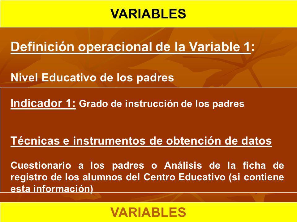 HIPOTESIS CIENTIFICA VARIABLES Definición operacional de la Variable 1: Nivel Educativo de los padres Indicador 1: Grado de instrucción de los padres
