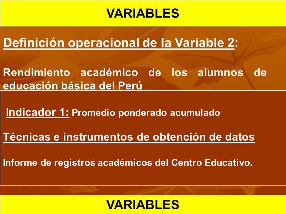 HIPOTESIS CIENTIFICA VARIABLES Definición operacional de la Variable 2: Rendimiento académico de los alumnos de educación básica del Perú Indicador 1: